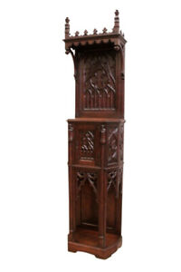 Antique French Gothic Cabinet Narrow Model Oak 19th Century
