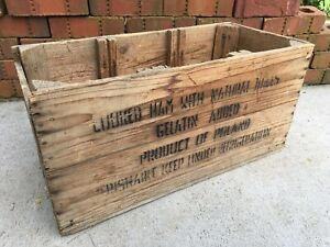 Vintage Wood Crate Krakus Brand Ham Wooden Shipping Box Product Of Poland