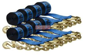 8 Pack Kinedyne 4 In X 30 Ft Winch Strap With Chain Anchor