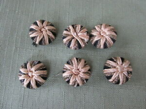 Set Of 6 Victorian Ribbon Type Antique Button S