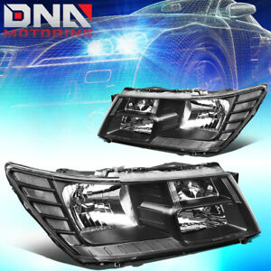 For 2009 2017 Dodge Journey Black Housing Clear Side Headlight Lamps Left Right