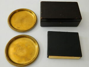 Lot Of 4 Vintage Gustave Keller Leather Box Cigarette Case Brass Coaster Jewelry