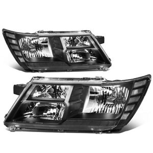 For 09 To 17 Dodge Journey Oe Style Black Housing Headlight Headlamps Head Lamp