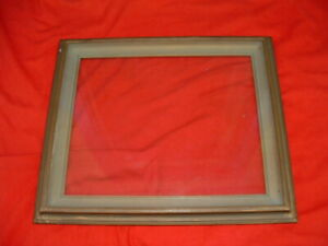 Arts Crafts Era Wood Frame Brass Color Holds 10 X 12 Photo Recessed Glass