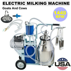 25l Electric Milking Machine For Farm Goats Cows W Bucket 12cows hour Milker Us