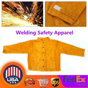 Welder Jacket Protective Clothing Welding Safety Apparel Cow Leather Apron L 3xl