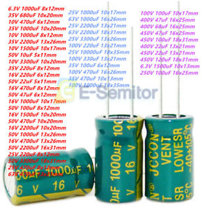 6 3v 450v 10uf 10000uf High Frequency Low Esr Radial Electrolytic Capacitor 105c