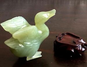 Antique Chinese Hand Carved Old Jade Duck Bird W Matching Wood Holder