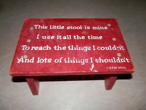 Vintage Red Wood Child S Step Stool With Rhyme This Little Stool Gem Mfg