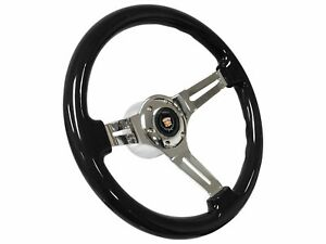 1969 1989 Cadillac S6 Black Ash Wood Steering Wheel Chrome Kit