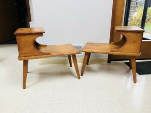 1950 S Mcm Cushman Colonial Creations End Tables Mid Century Wood High Quality