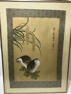 Antique Vintage Chinese Framed Silk Painting Tapestry Boarder Birds Seal Scroll