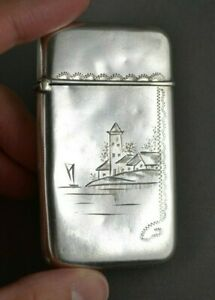 Antique Victorian Sterling Silver Village Scene Match Safe Vesta Case 19th C
