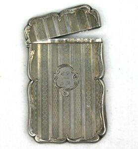 Edward Smith Birmingham Victorian Solid Silver Business Card Case Inscribed