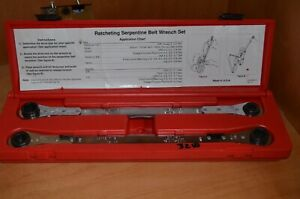 Cornwell Tools Ratcheting Serpentine Belt Wrench 2 Piece Set With Case Zz Rb858