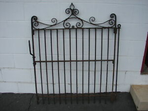 Antique Old Wrought Iron Heavy Garden Yard Gate Decor 48 X 37