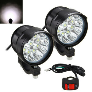 2pcs 90w Led Motorcycle Led Spot Work Light Offroad Driving Fog Lamp W Switch