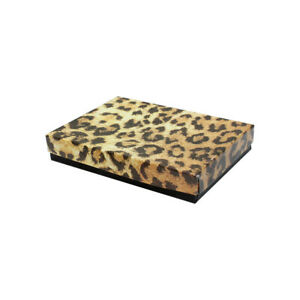 5 3 8 x 3 7 8 Jewelry Gift Boxes Cotton Filled Batting Leopard Print Set 100 Pc