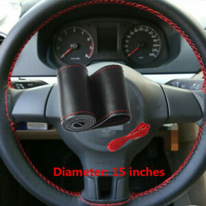 Black Red Genuine Leather Diy Car Steering Wheel Cover With Needles And Thread F
