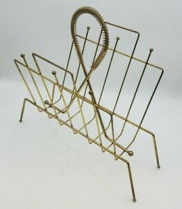Mid Century Modern Magazine Rack Record Holder Steel Brass Gold Tone Decor Used