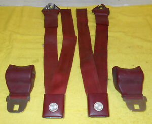 1966 1967 Ford Fairlane Comet Cyclone Deluxe Red Front Seat Belts W Retractors