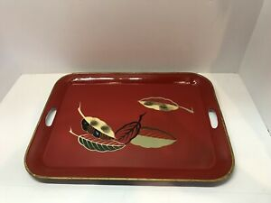 Antique Japanese Lacquer Ware Serving Tray Red Hand Painted Bone Inlay Leaves