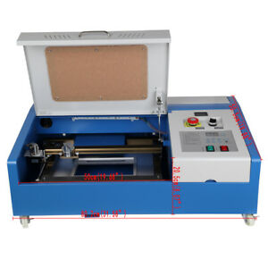 40w Co2 Usb Laser Engraving Cutting Machine 300x200mm Engraver Movable Wheel