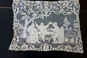 Antique Lace Needle Lace Traycloth W Figures In Pastoral Scene