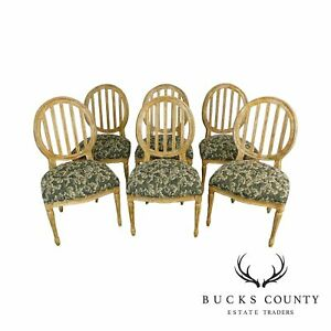 Custom Quality Set Of 6 Distressed Painted Louis Xvi Style Dining Chairs