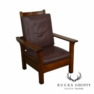 L J G Stickley Antique Mission Oak Arts Crafts Morris Chair