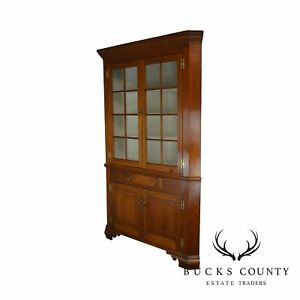 Chippendale Style Antique Large Cherry 2 Piece Corner Cabinet