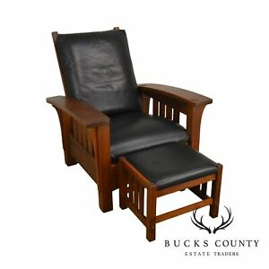 Stickley Mission Collection Cherry Bow Arm Morris Chair With Foot Stool