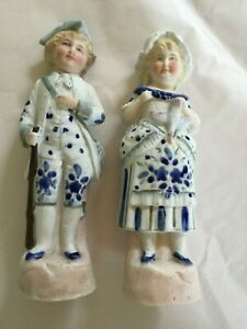 Antique Victorian Pair Bisque Girl Boy Figure S Figurines Germany