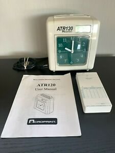 Acroprint Atr120 Time Clock Timecards And Manual Free Shipping