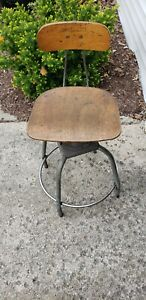 Vintage Toledo Era Industrial Adjustable Drafting Stool Chair Steel Mid Cent
