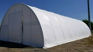 40x80x20 Canvas Fabric Tarp Storage Building Shop Metal Frame Quonset Shelter