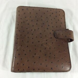 Ostrich Full Grain Leather Classic Franklin Covey Planner Binder Organizer Snap
