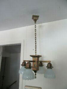 Antique Light Turn Of Century Mission Style 4 Light Rewired Square Chain