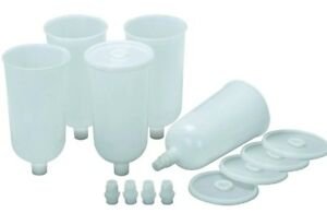Air Spray Gun Disposable Paint Cups 5pk With Adapters To Fit Most Brands
