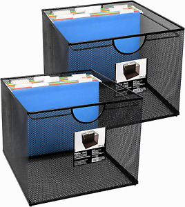 Neat Life Mesh Office File Organizer Storage Box With Side Hanging Rails Black