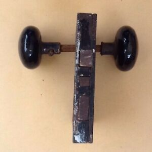 Antique Vintage Black Porcelain Door Knob Set Mortise Lock Hardware Mechanism
