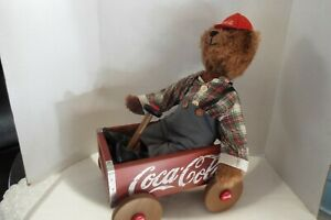 Coca-Cola Red Wooden Wagon Soda Bottle Crate W/ Coca-Cola Cubby Bear
