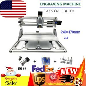 Mini Diy 3 Axis Cnc 2417 Router Engraver Wood Metal Carving Machine Pcb Milling