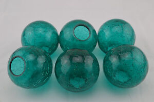 6 Pcs Turquosie Decorative Reproduction Blown Glass Float Fishing Buoy Ball 3