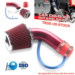 Red 3 Car Cold Air Intake System Turbo Induction Pipe Tube Filter Aluminum