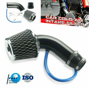 Black 3 Car Cold Air Intake System Turbo Induction Pipe Tube Filter Aluminum