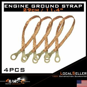 Braided Engine Ground Strap Vehical Cable Terminal Copper Tinned 4pcs 29cm