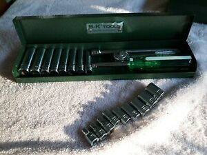 Vintage S k 1 4 Drive Ratchet Socket Set With Metal Case