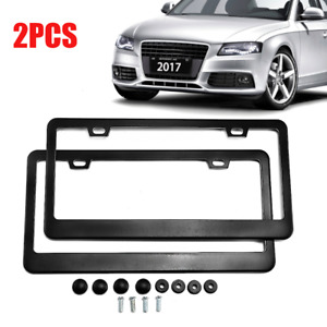 2x Aluminum License Plate Frame 4 Hole Black W Screw Caps For All Standard U S