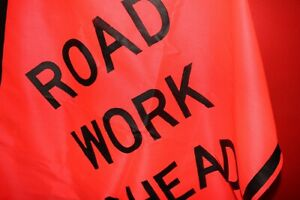 Road Work Ahead Mesh Safety Sign Traffic Control Approx 48 X 48